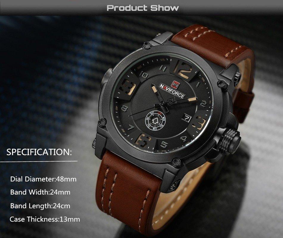 Naviforce 9099 Waterproof Leather Strap Clock For Men