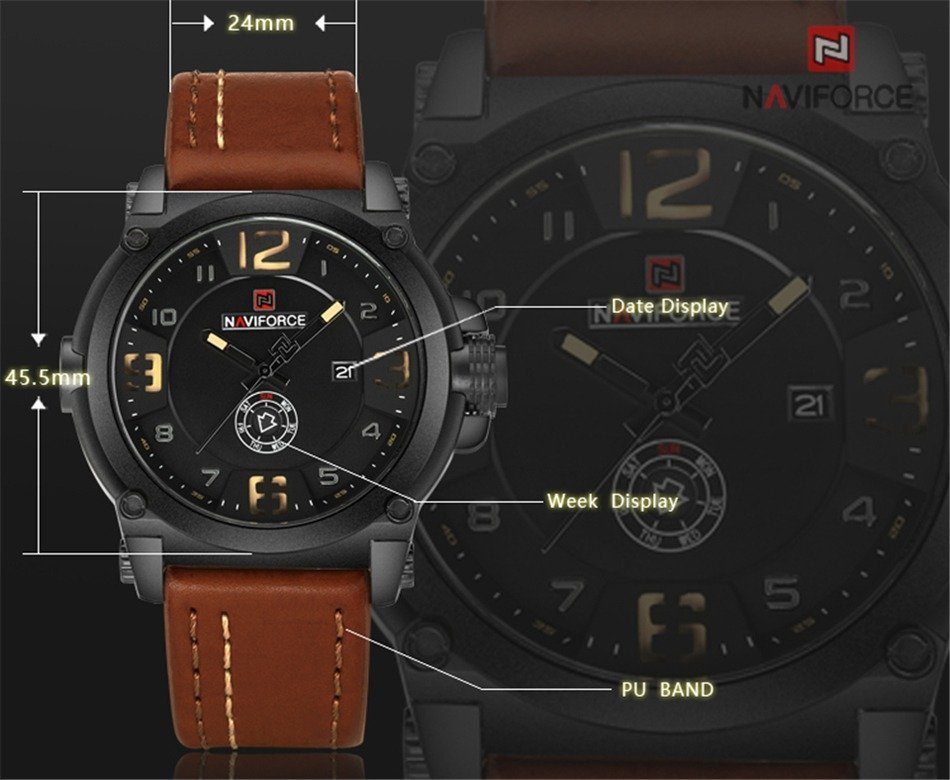 Naviforce 9099 Waterproof Leather Strap Clock For Men (2)