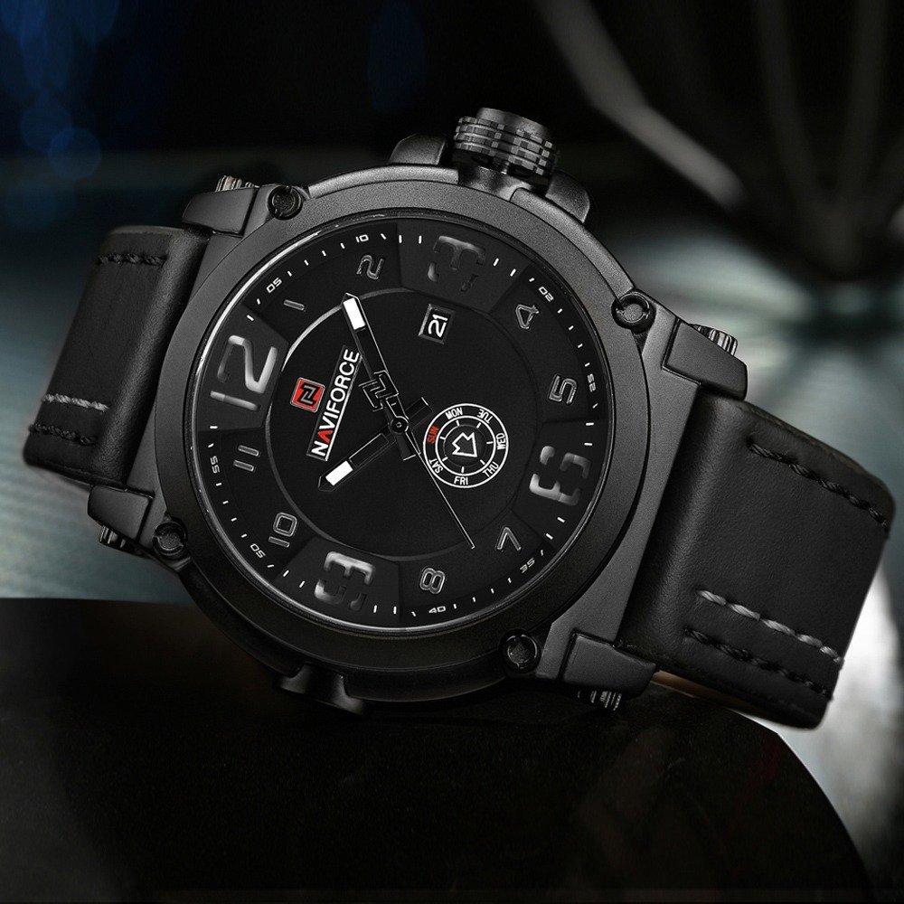 Naviforce Mens Watches Top Brand Luxury Sport Quartz Watch Leather Strap Clock Men Waterproof Wristwatch Relogio (2)