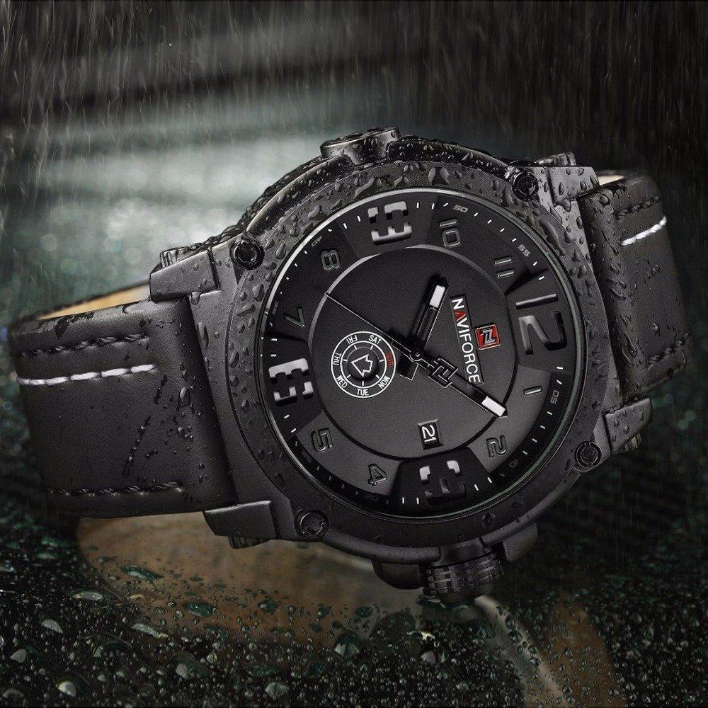 Naviforce Mens Watches Top Brand Luxury Sport Quartz Watch Leather Strap Clock Men Waterproof Wristwatch Relogio (3)