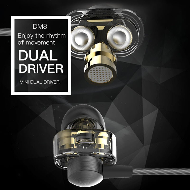 Qkz Dm8 Earphones Mini Dual Driver Extra Bass