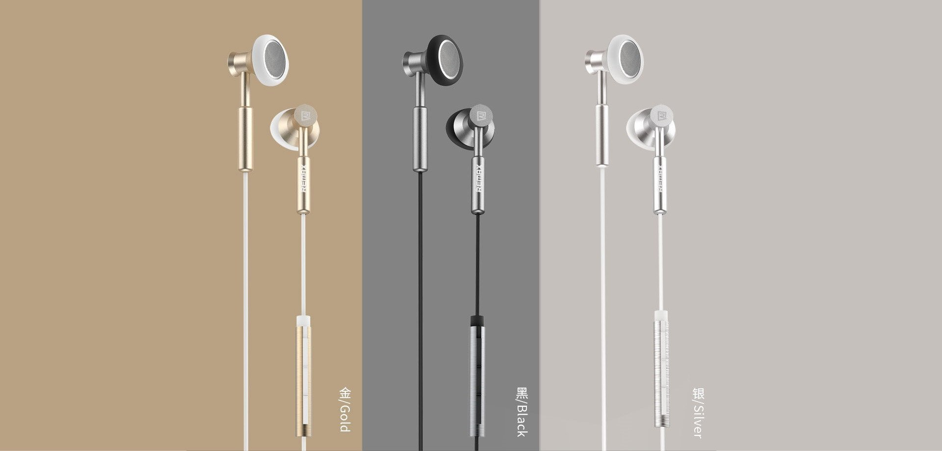 Remax 305m 3.5mm Wired Control Metal Headphone With Mic Colors