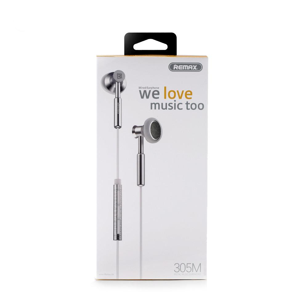 Remax 305m 3.5mm Wired Control Metal Headphone With Mic Package