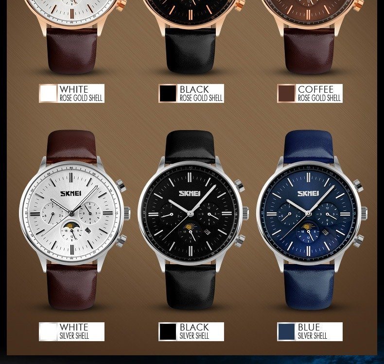 Skmei 9117 Fashionable Waterproof Casual Leather Casual Wristwatch For Men (10)