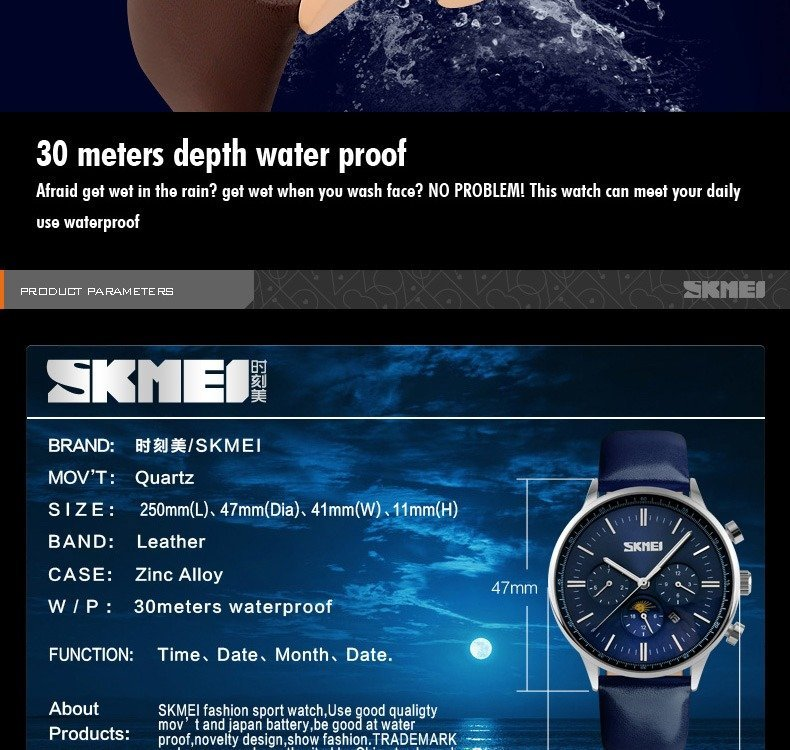 Skmei 9117 Fashionable Waterproof Casual Leather Casual Wristwatch For Men (11)