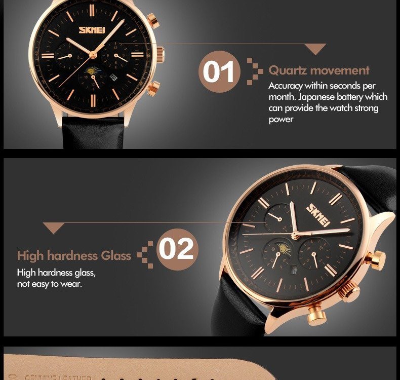 Skmei 9117 Fashionable Waterproof Casual Leather Casual Wristwatch For Men (4)