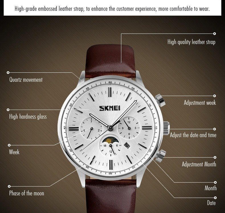 Skmei 9117 Fashionable Waterproof Casual Leather Casual Wristwatch For Men (5)
