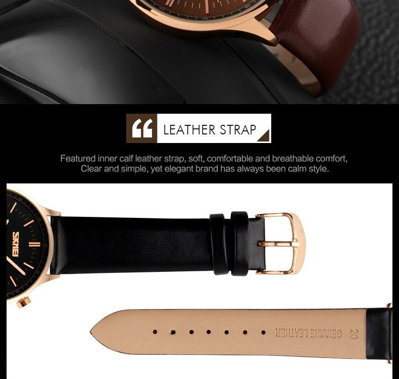 Skmei 9117 Fashionable Waterproof Casual Leather Casual Wristwatch For Men (6)