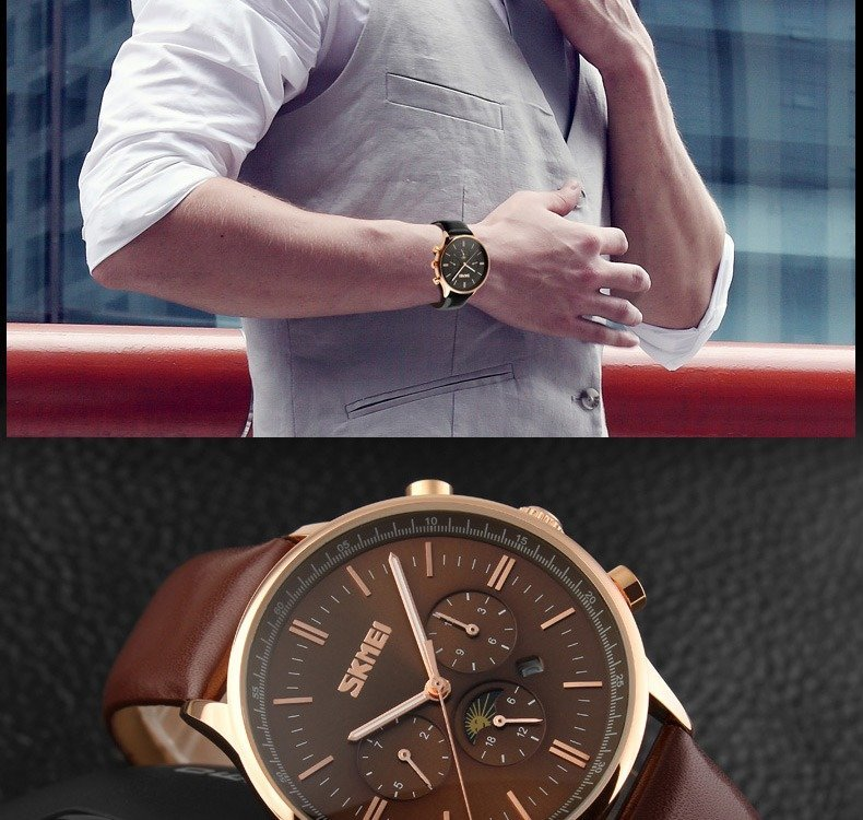 Skmei 9117 Fashionable Waterproof Casual Leather Casual Wristwatch For Men (7)