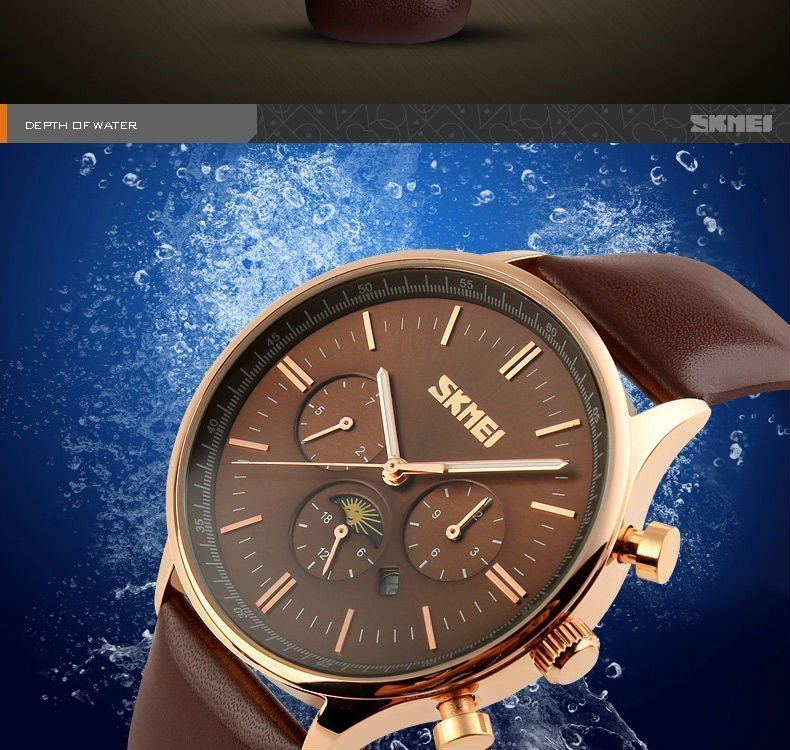Skmei 9117 Fashionable Waterproof Casual Leather Casual Wristwatch For Men (8)