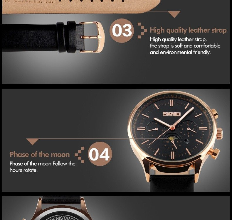 Skmei 9117 Fashionable Waterproof Casual Leather Casual Wristwatch For Men (9)