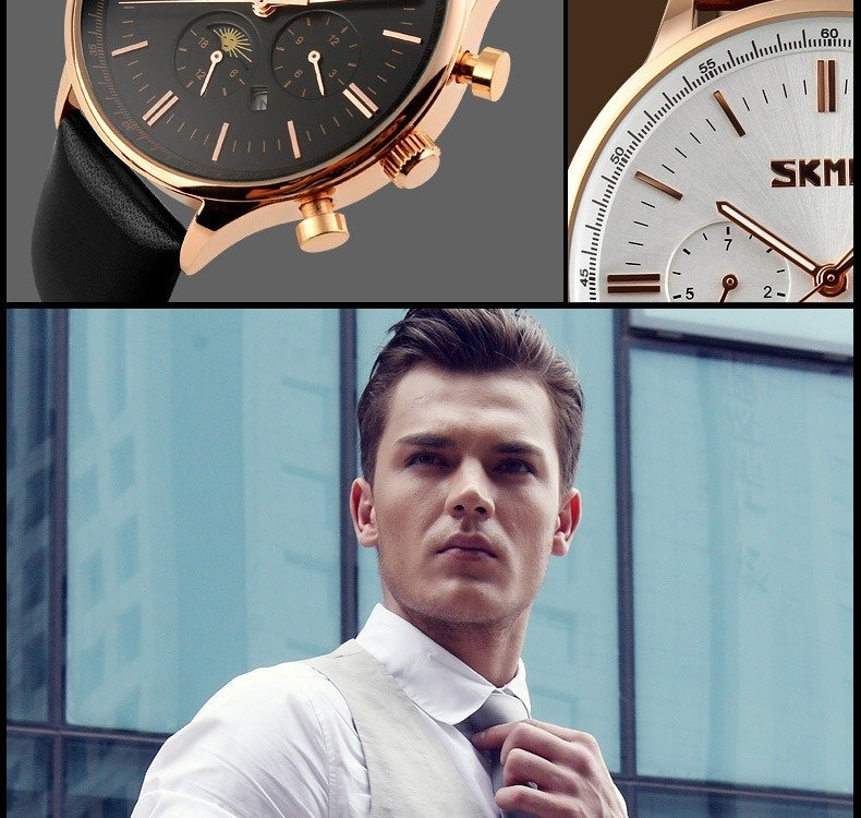 Skmei 9117 Fashionable Waterproof Casual Leather Casual Wristwatch For Men
