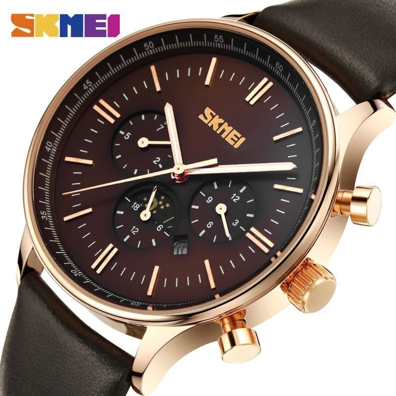 Skmei Fashion Watches Men Business Quartz Wristwatches 30m Waterproof Casual Leather Brand Casual Watch Relogio Masculino (2)