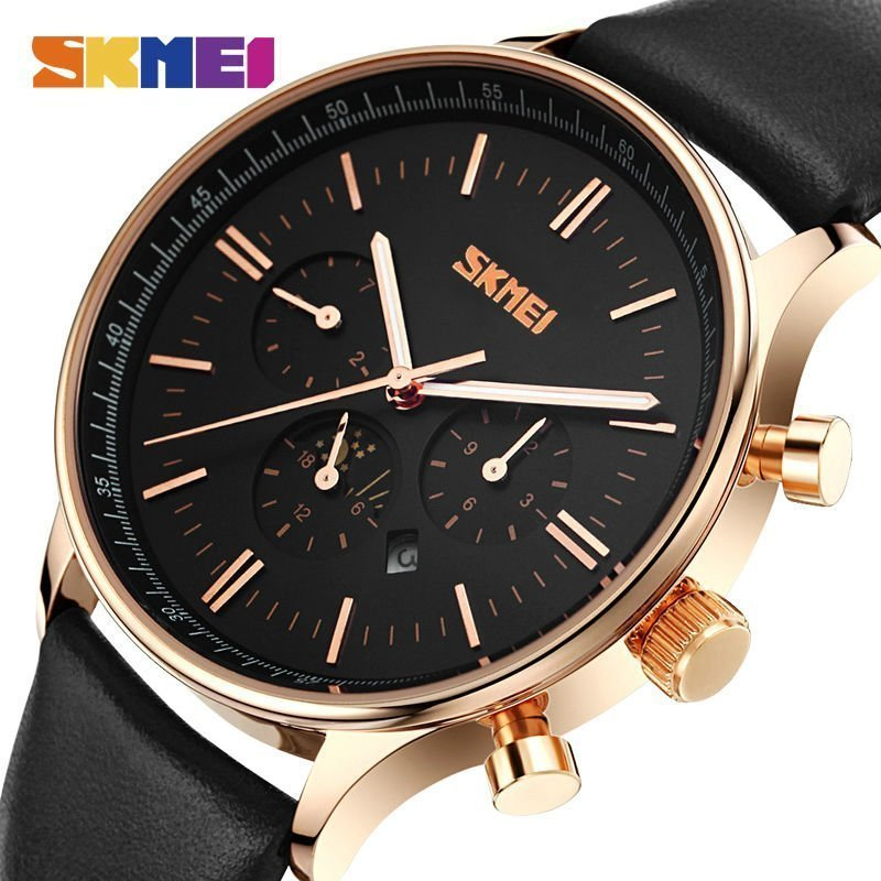 Skmei Fashion Watches Men Business Quartz Wristwatches 30m Waterproof Casual Leather Brand Casual Watch Relogio Masculino (3)