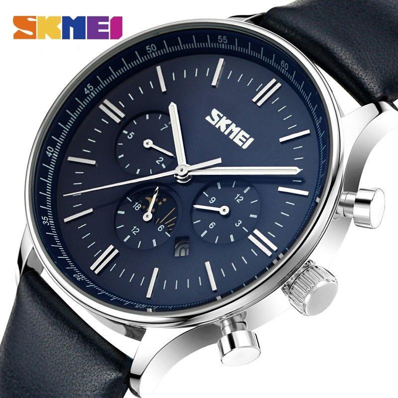 Skmei Fashion Watches Men Business Quartz Wristwatches 30m Waterproof Casual Leather Brand Casual Watch Relogio Masculino