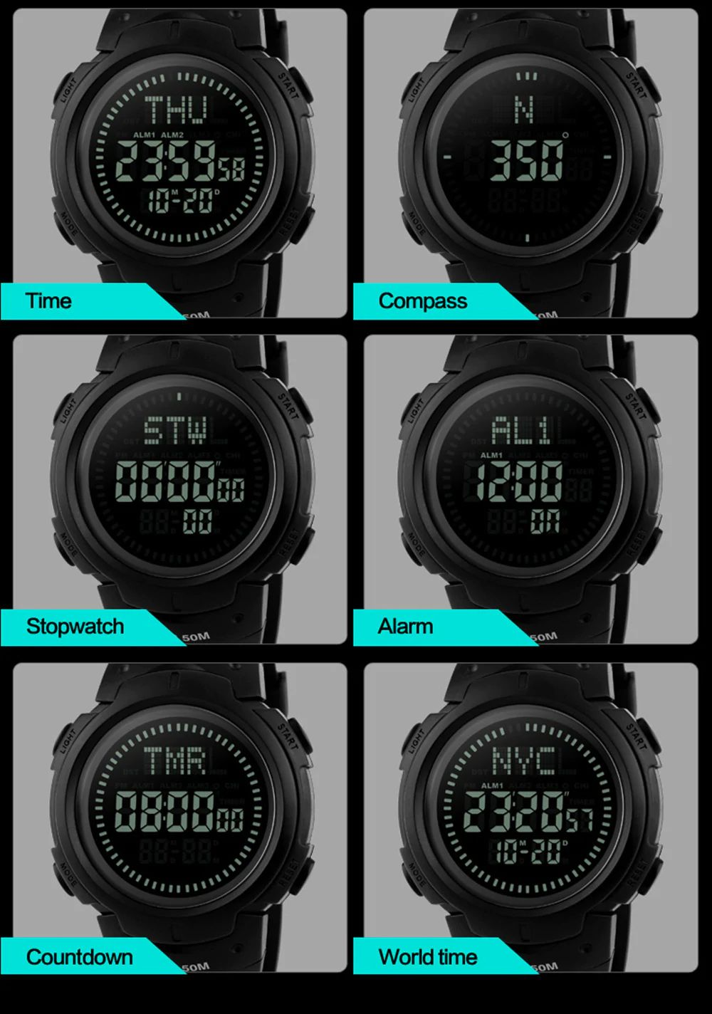 Skmei 1231 Man Sports Compass Watch (4)