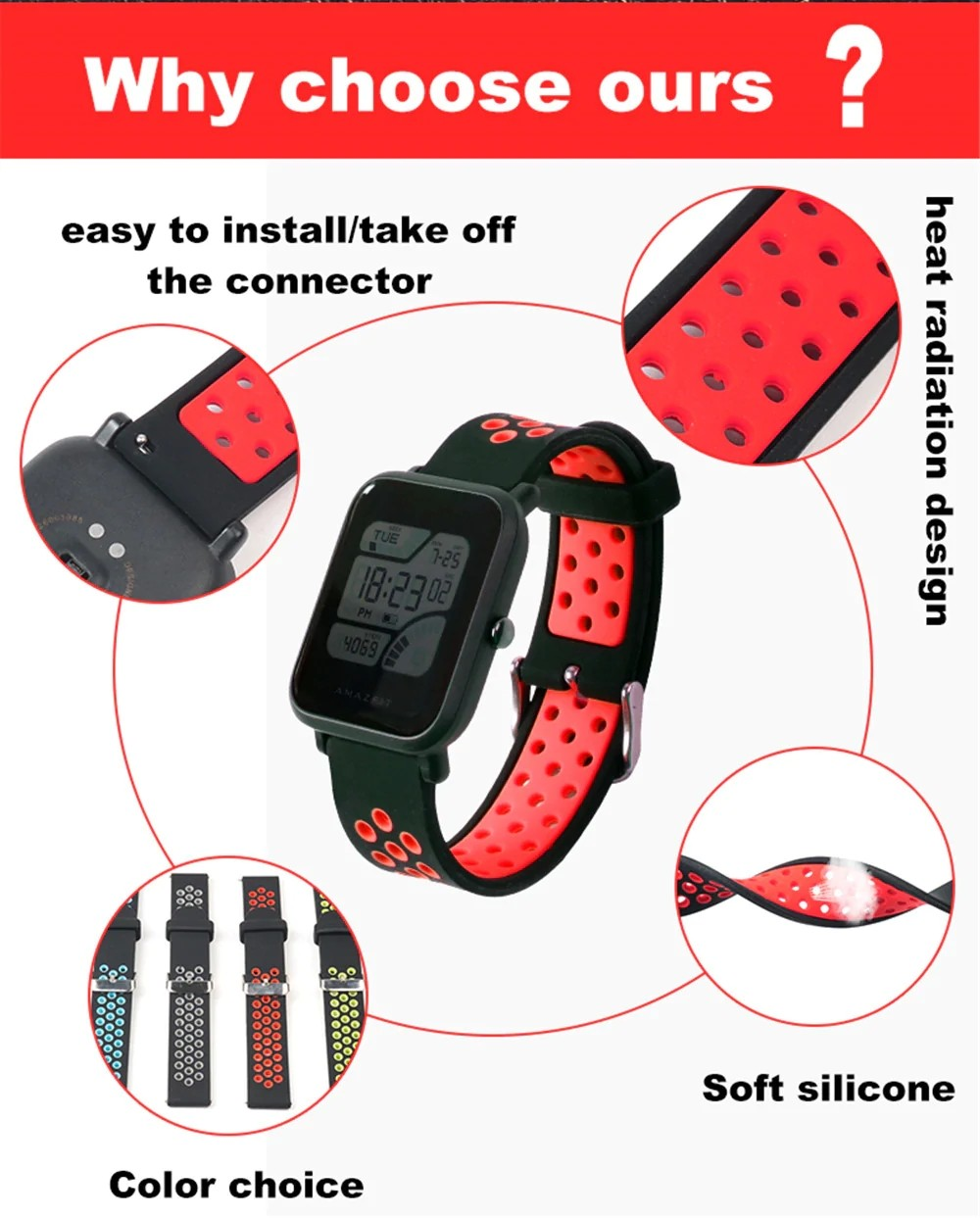 Replacement Silicone Watch Band Strap For Amazfit Bip And M28 (3)