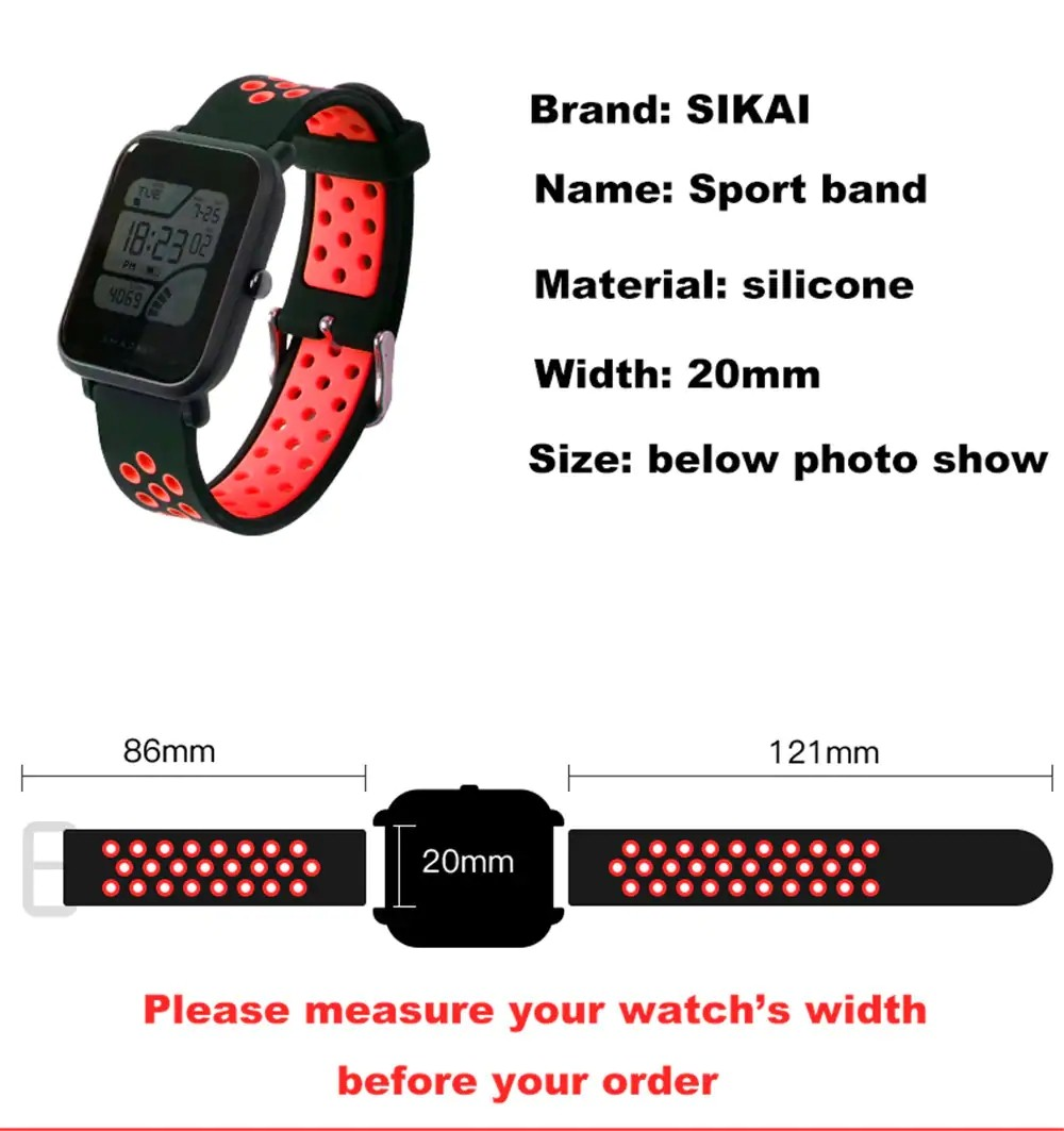 Replacement Silicone Watch Band Strap For Amazfit Bip And M28 (5)