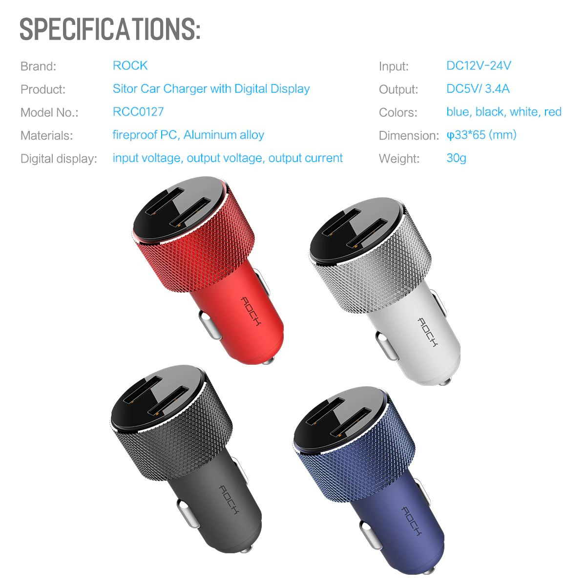 Rock Sitor Car Charger With Digital Display (19)