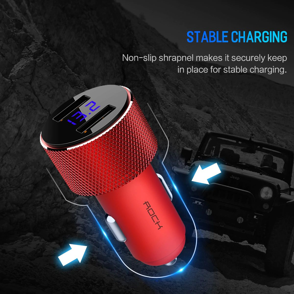 Rock Sitor Car Charger With Digital Display (6)