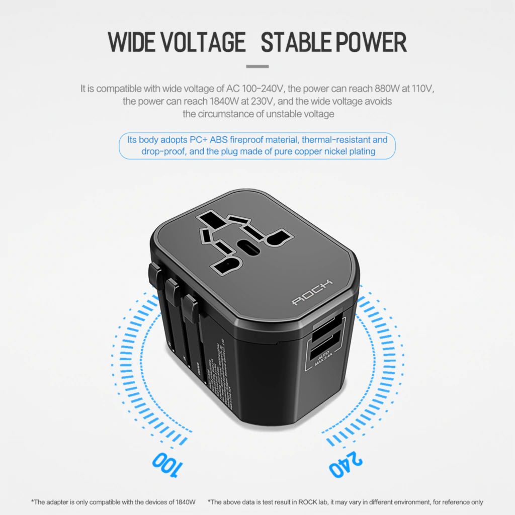 Rock T20 Universal Multi Function Dual Usb Socket Travel Charger (9)