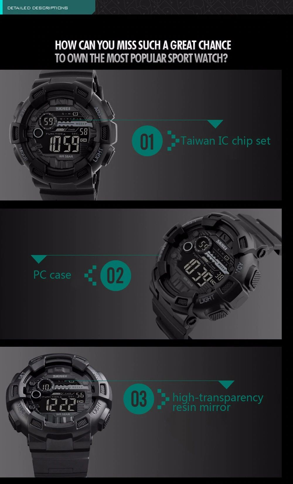 Skmei 1243 Men Sports Watch (8)