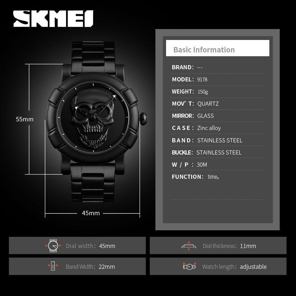 Skmei 9178 Skull Quartz Watch (4)