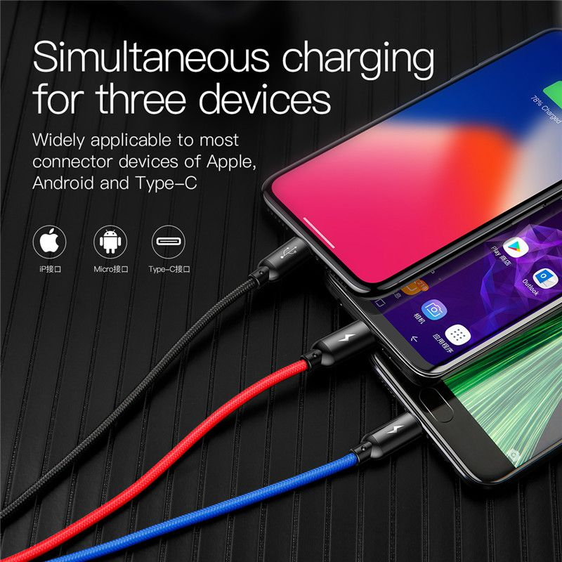 Baseus Three Primary Colors 3 In 1 Cable (5)