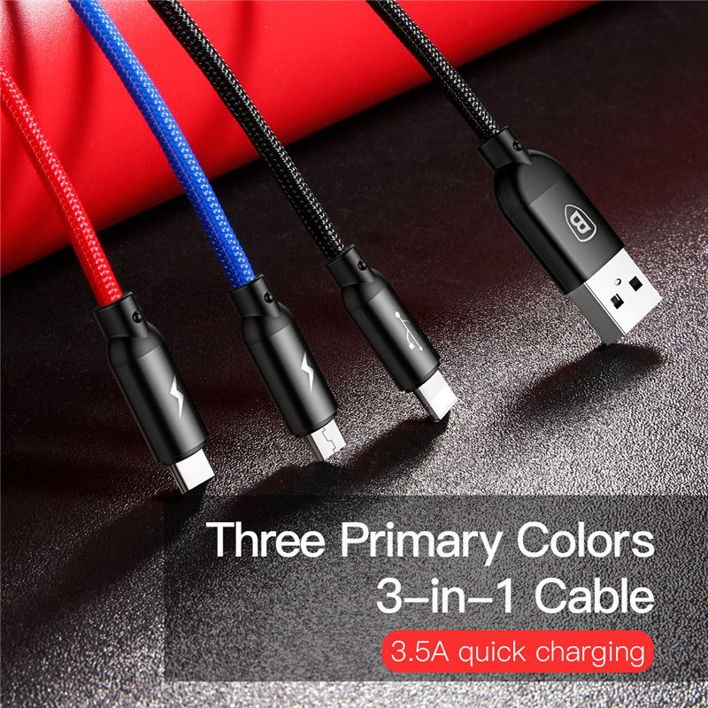 Baseus Three Primary Colors 3 In 1 Cable (7)