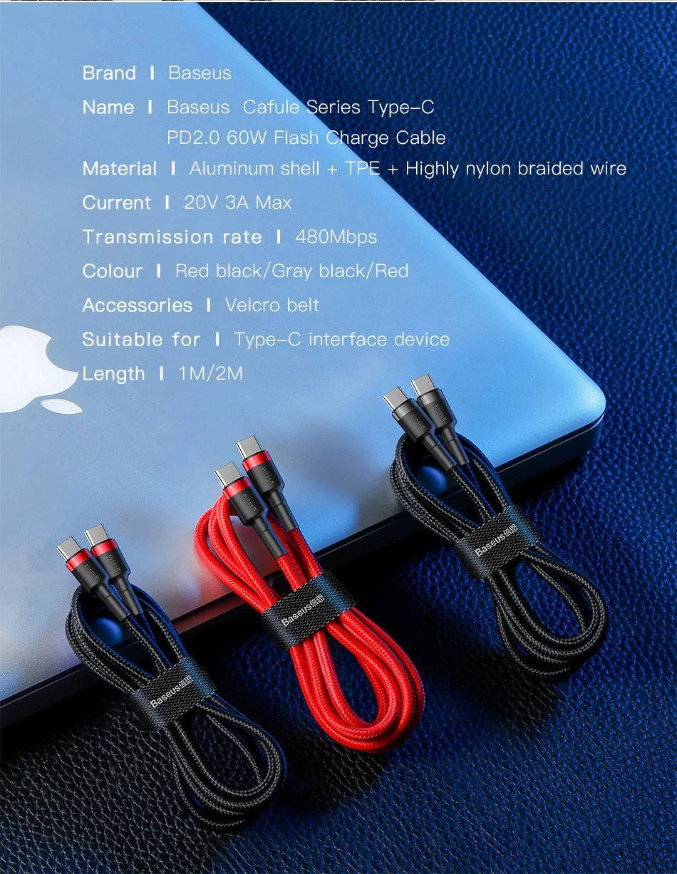 Baseus Usb Type C To Usb C Pd Quick Charge Cable (14)