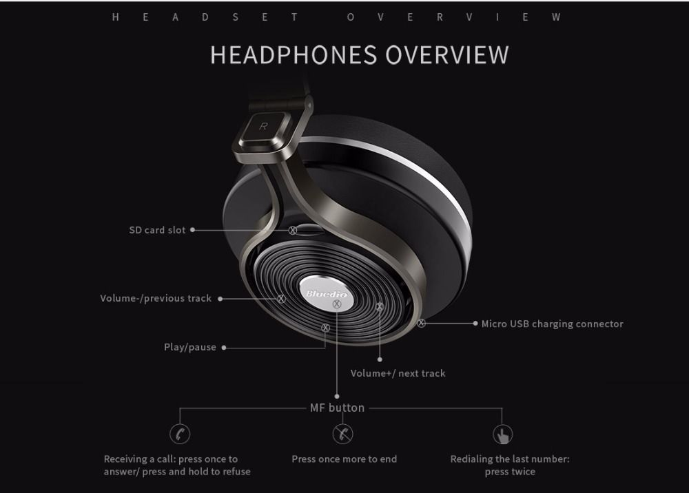 Bluedio T3 Plus Wireless Bluetooth Headphones (4)