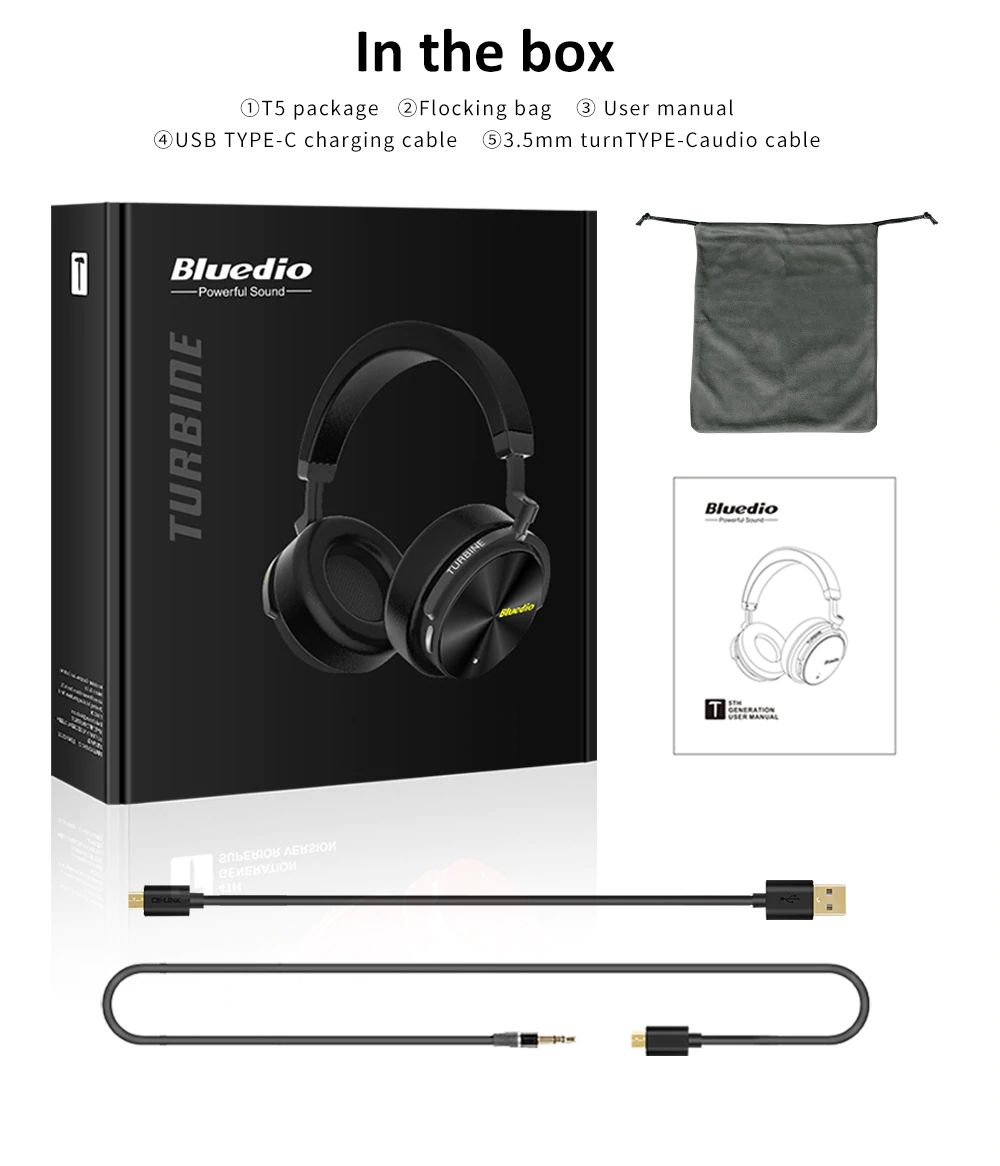 Bluedio T5 Active Noise Cancelling Bluetooth Headphone (2)