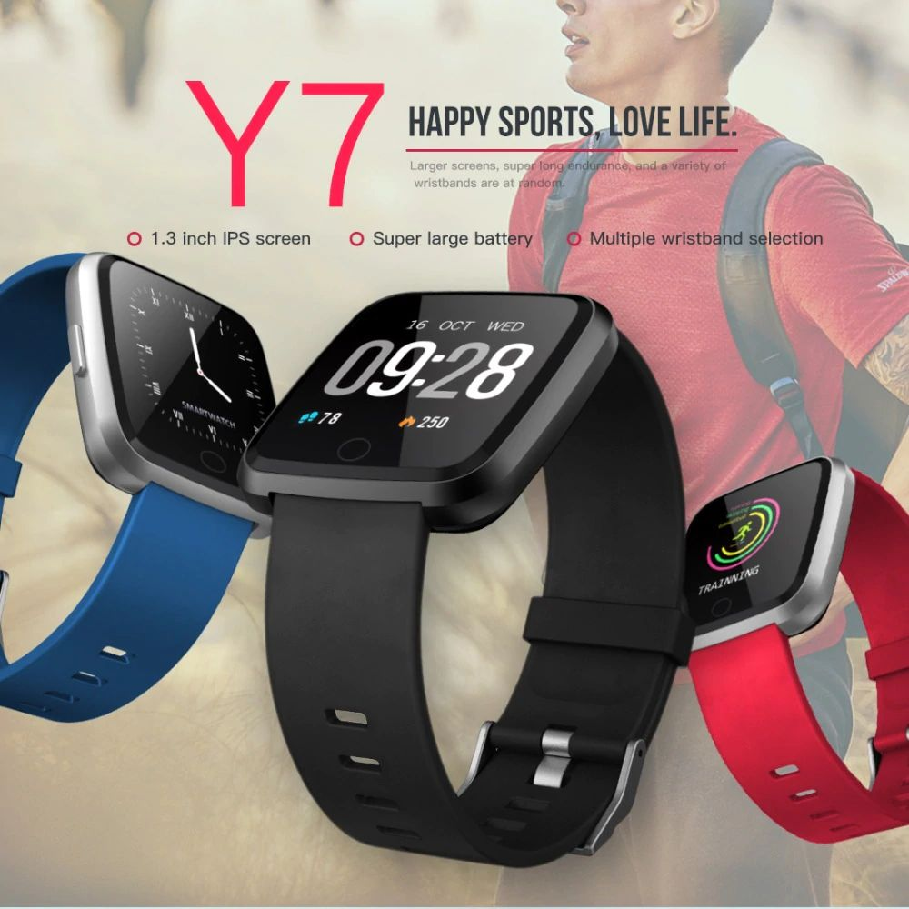 Huawise Y7 Smartwatch With Silicone Strap (1)