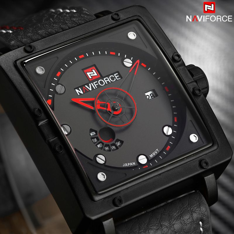 Naviforce 9065 Movt Square Watch (1)