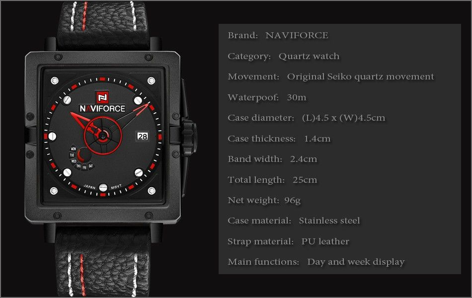 Naviforce 9065 Movt Square Watch (10)