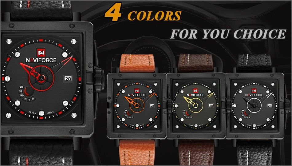 Naviforce 9065 Movt Square Watch (2)