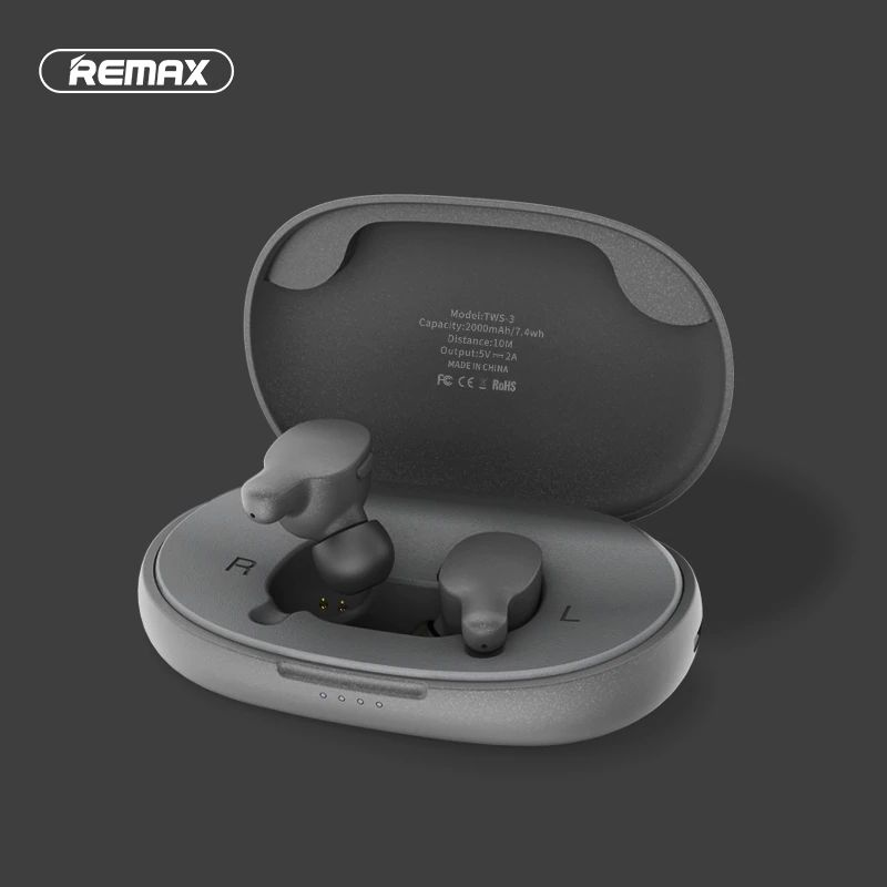 Remax Tws 3 Wireless Earbuds Twins Earphone With Charging Box (2)