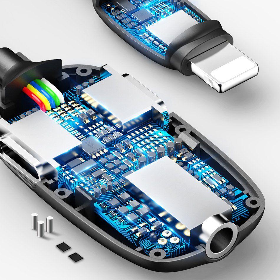 Baseus Audio Converter L51 Lightning To 2x Lightning And Headphones Jack (1)