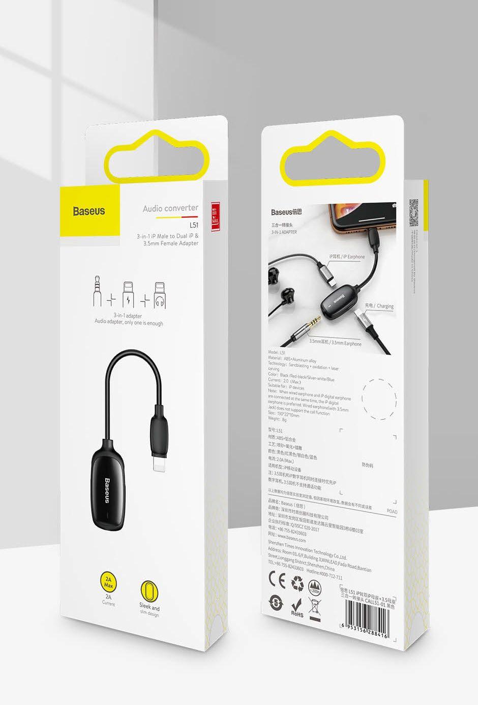 Baseus Audio Converter L51 Lightning To 2x Lightning And Headphones Jack (11)