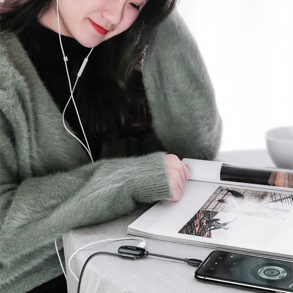 Baseus Audio Converter L51 Lightning To 2x Lightning And Headphones Jack (4)