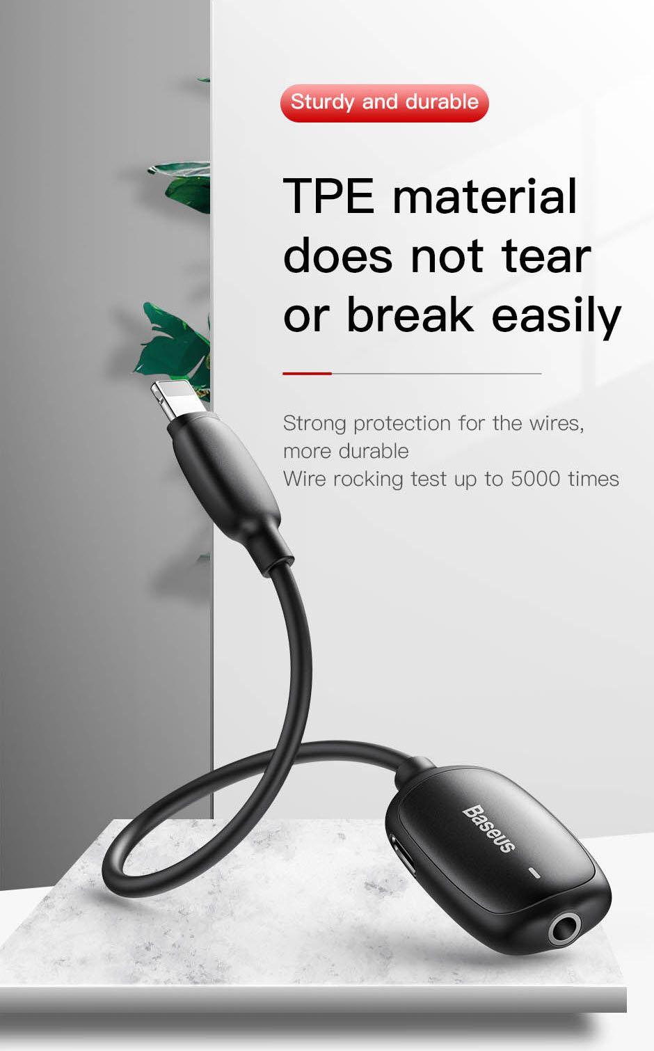 Baseus Audio Converter L51 Lightning To 2x Lightning And Headphones Jack (7)
