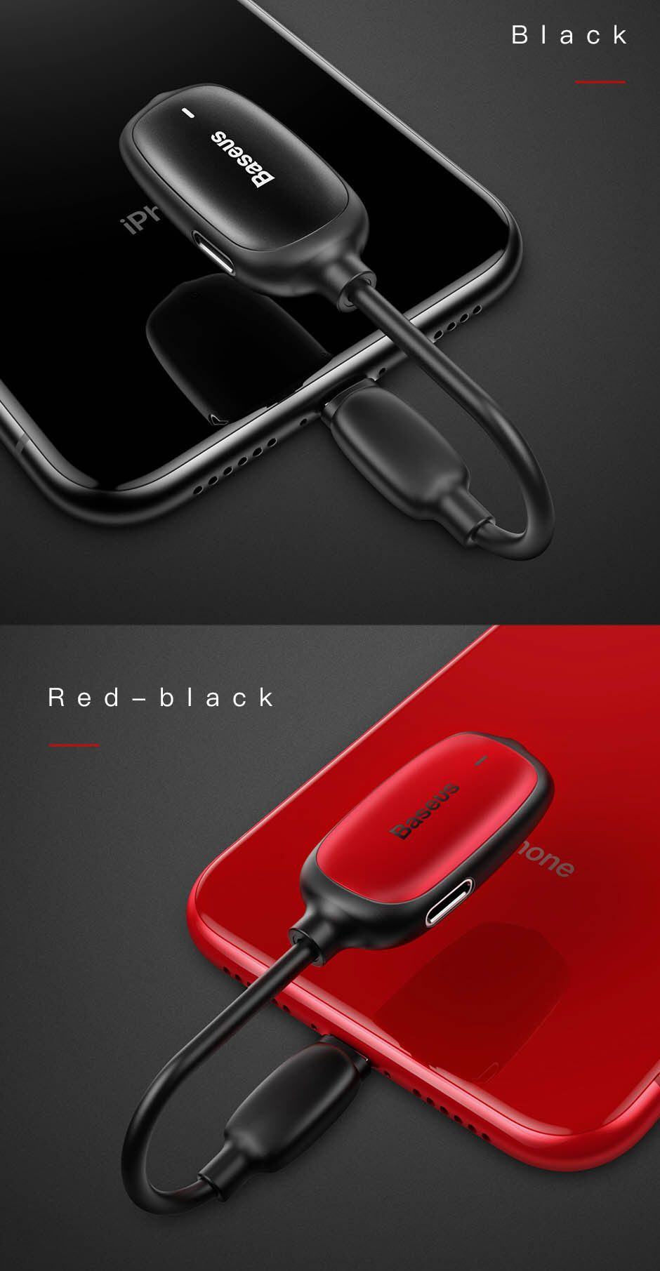 Baseus Audio Converter L51 Lightning To 2x Lightning And Headphones Jack (9)