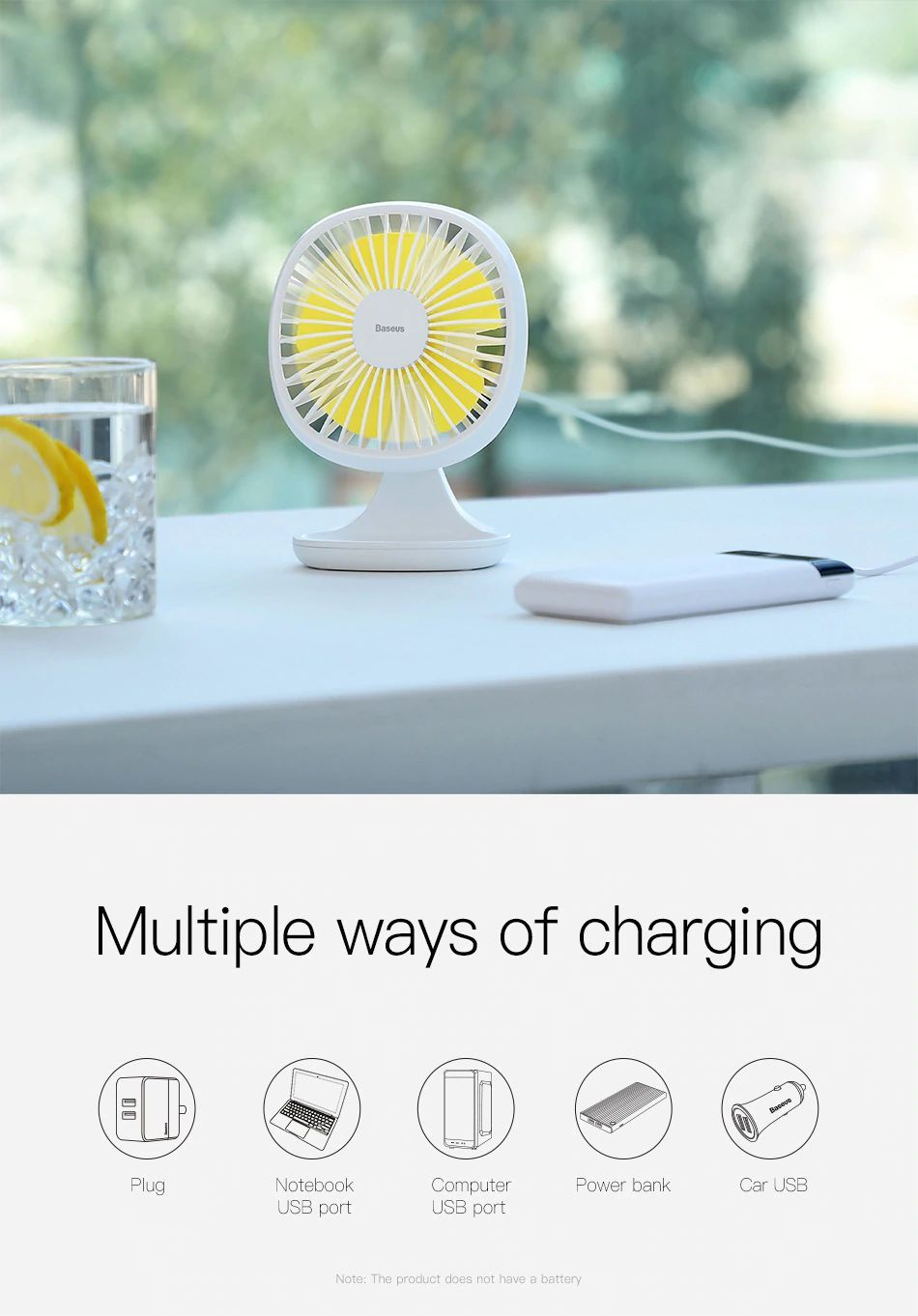 Baseus Portable Usb Fan 3 Speed Mini Fan (12)