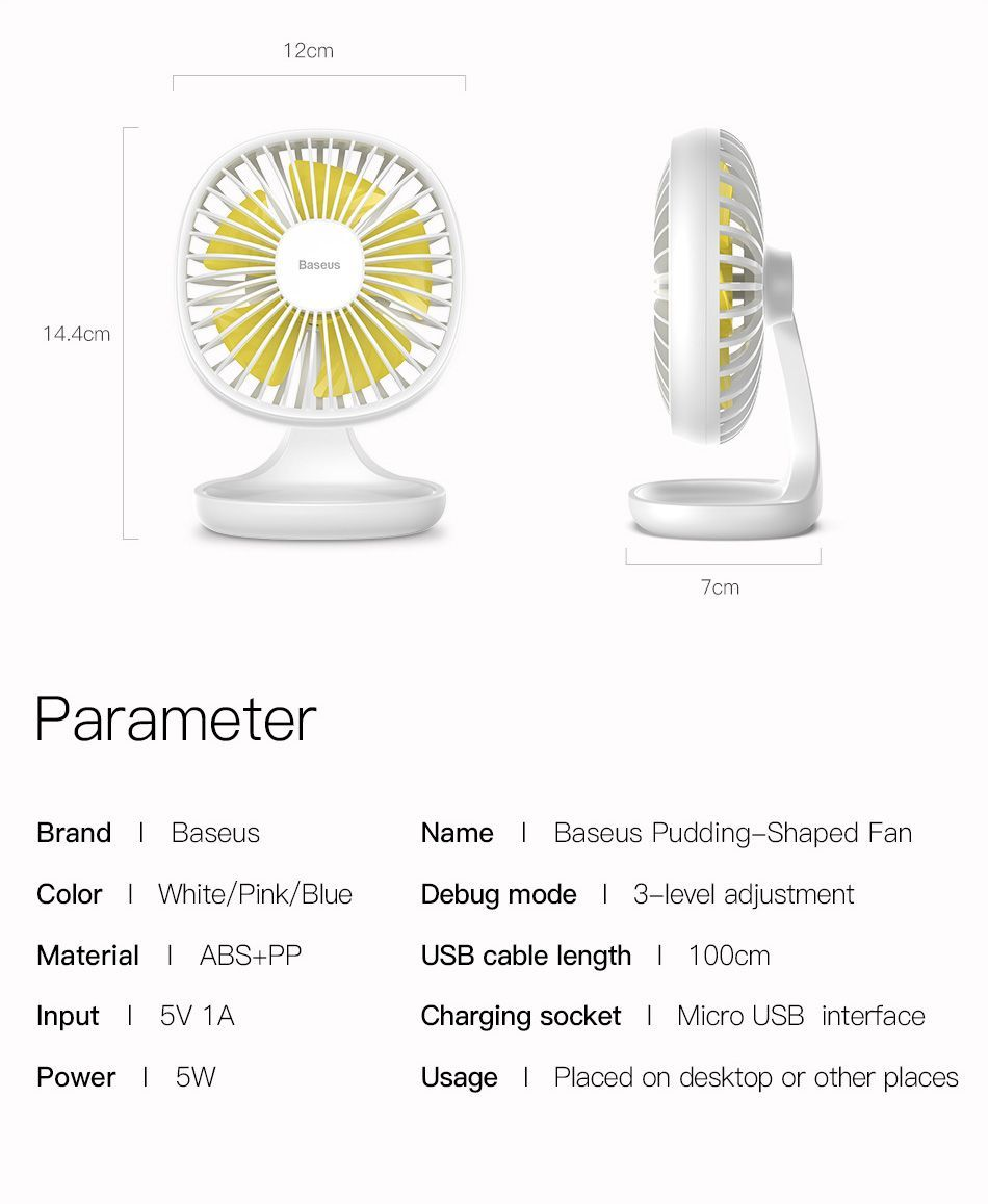 Baseus Portable Usb Fan 3 Speed Mini Fan (6)