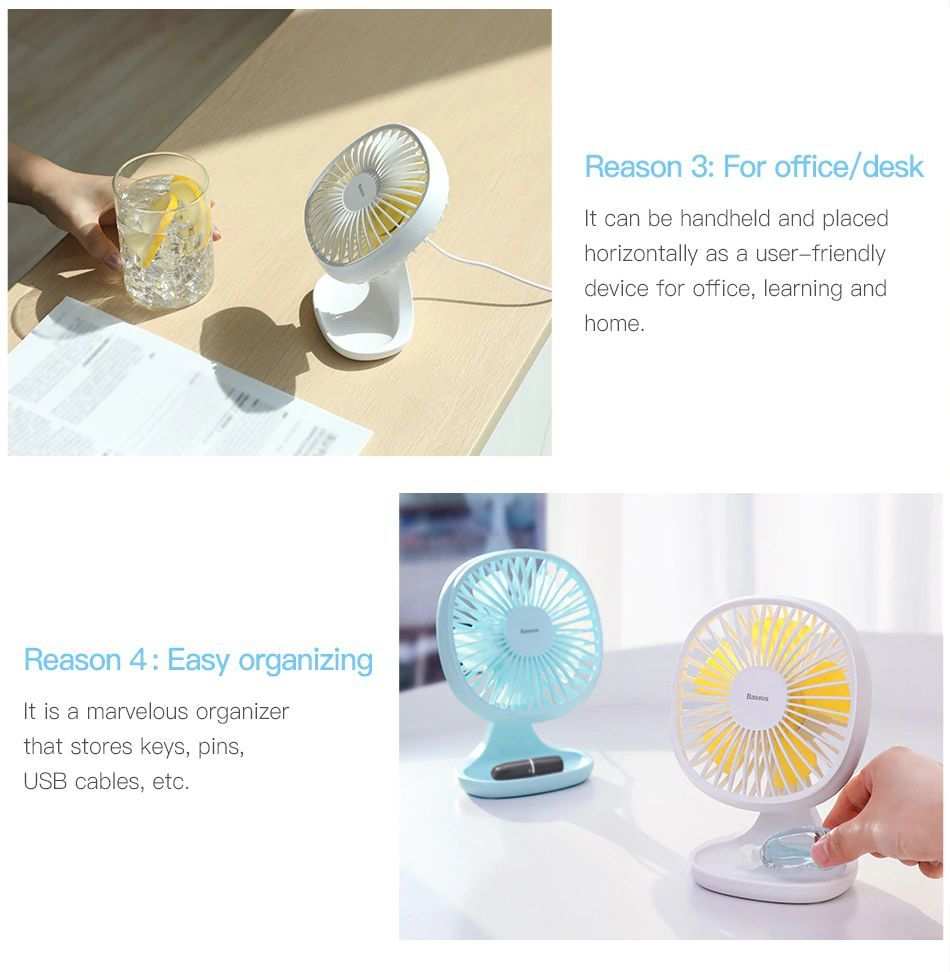 Baseus Portable Usb Fan 3 Speed Mini Fan (7)