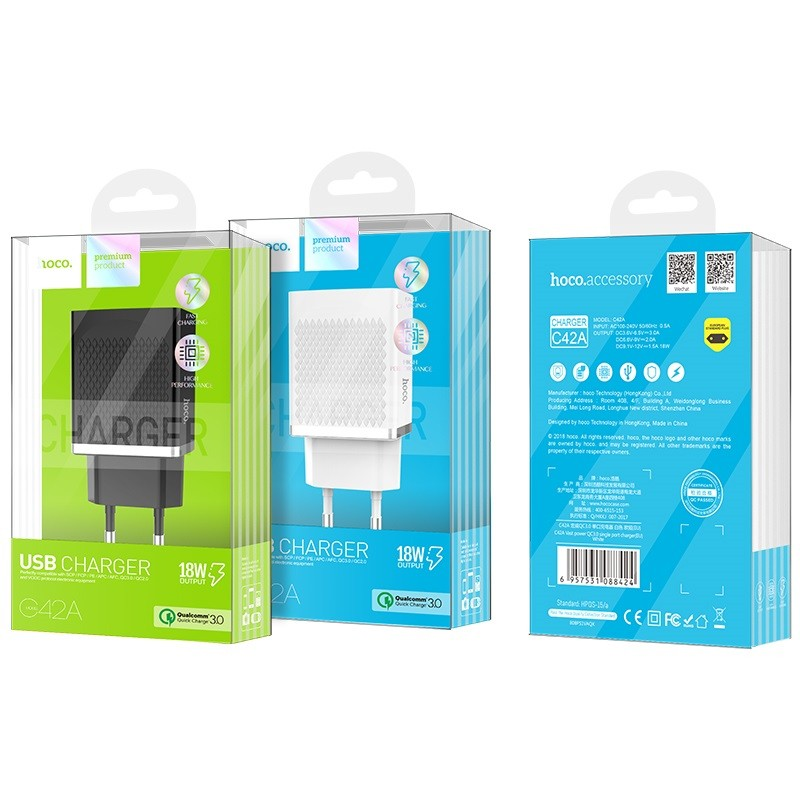 Hoco C42a Qc3 0 Quick Charge Single Usb Power Adapter Charger (5)