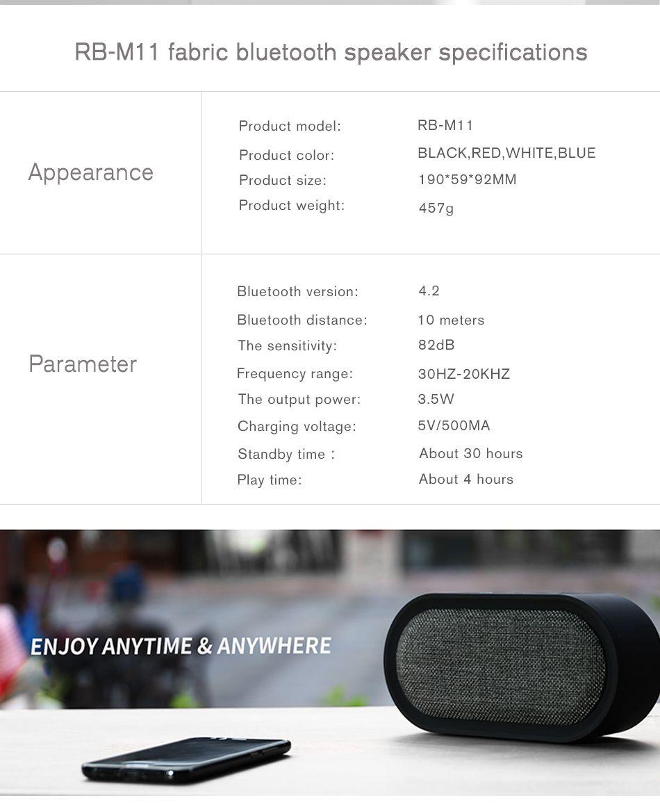 Remax M11 Portable Wireless Fabric Bluetooth Speaker (5)
