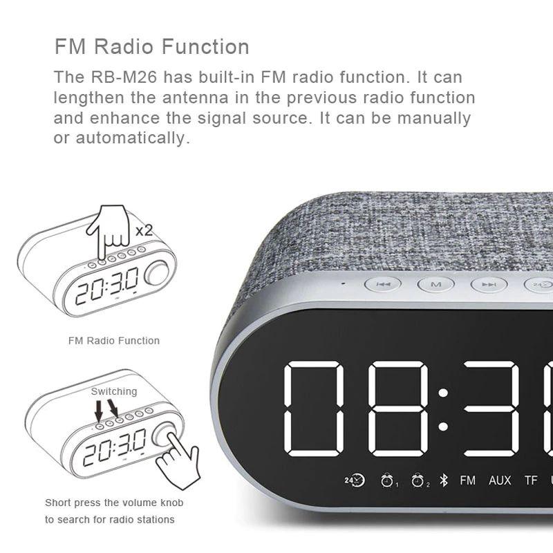 Remax Rb M26 Bluetooth Speaker With Alarm Clock (3)