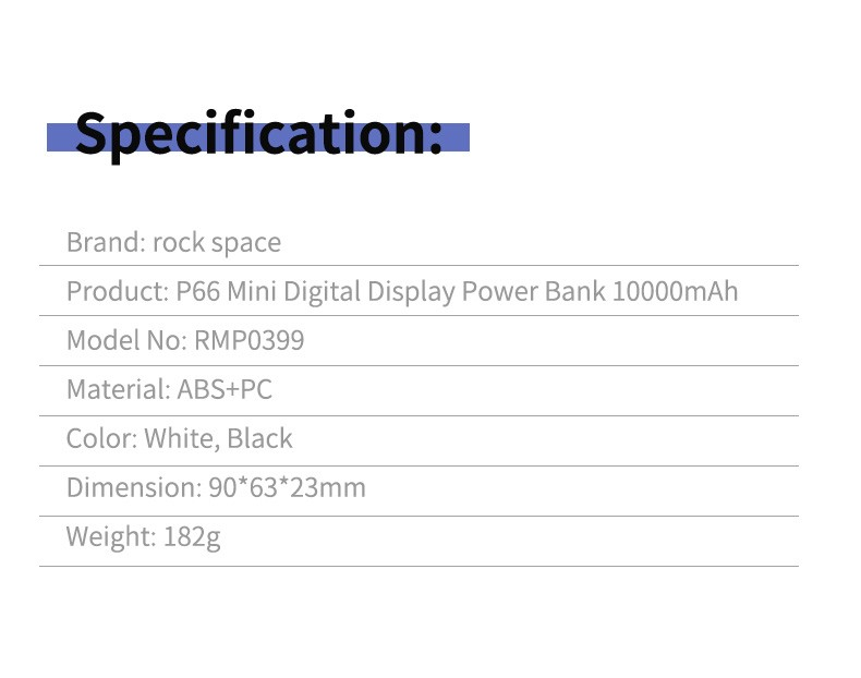 Rock Space P66 Mini Digital Display Power Bank 10000mah (5)