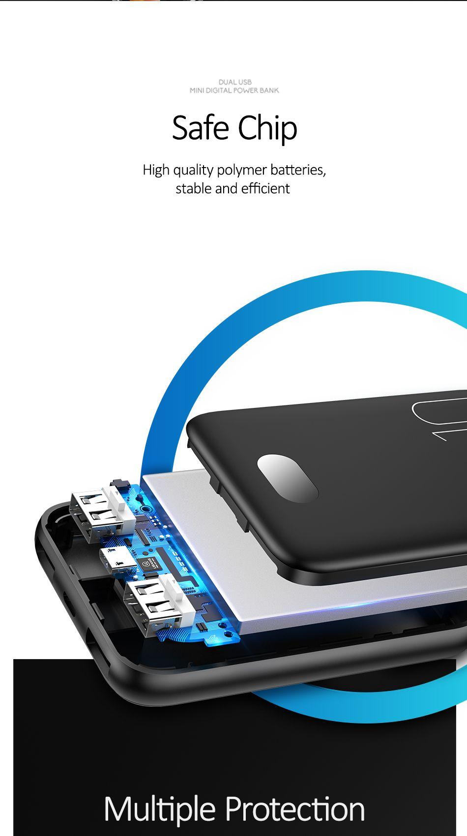 Usams Pb9 10000mah Dual Usb Mini Digital Power Bank (12)